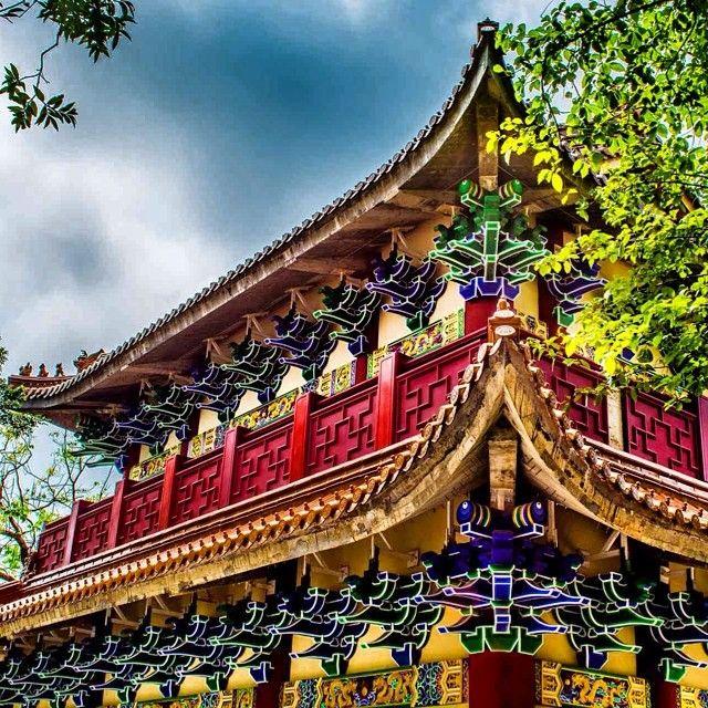 Burst of color from Po Lin Monastery on #LantauIsland in #HongKong. Photo courtesy of nodestinations on Instagram.