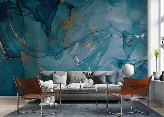 Marble Wallpaper With Gold Strip Peel And Stick Wallpaper Blue Marble Wallpaper Marble Wallpaper Watercolor Wallpaper