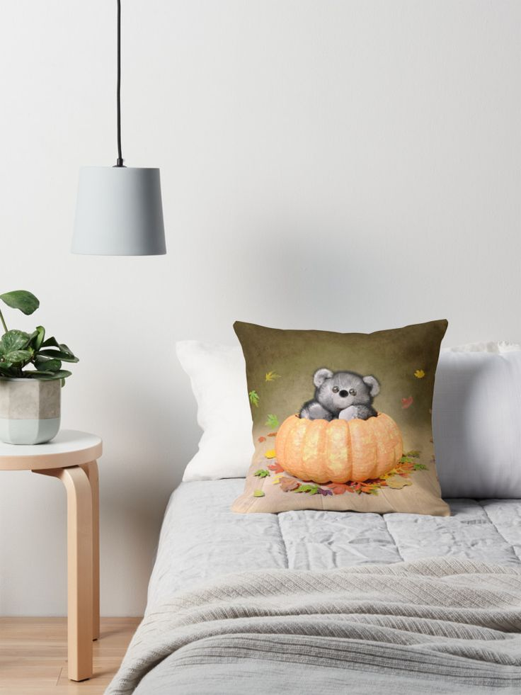 Autumn Teddy in a Pumpkin Throw Pillow. #throwpillow #teddybear #adorable #cute #homedecor #thanksgiving