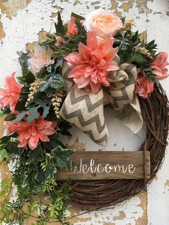 Spring Wreath For Front Door Welcome Easter Summer