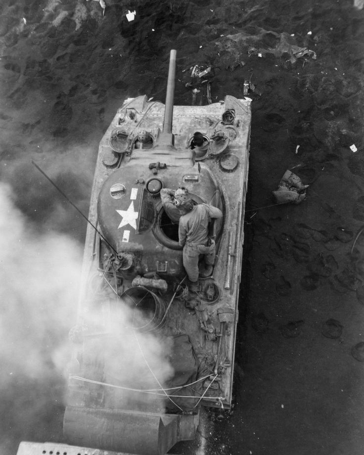 M4 Medium Tank supports the landing on Iwo Jima
