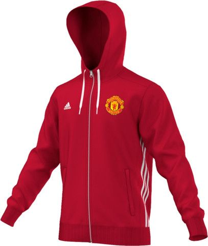 Cheer on the Manchester United Football Club with this stylish and warm adidas ManU 3-Stripes Zip Hoodie Red-White 2016-2017. Two side zip pockets and classic adidas stripes down the sides. and embroi