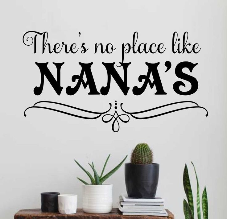 Self-adhesive Vinyl Wall Lettering Available in 3 sizes listed in SIZE drop down menu There's no place like Nana's. *Please see second picture for color choices. CHOOSE YOUR COLOR AND SIZE FROM DROP D