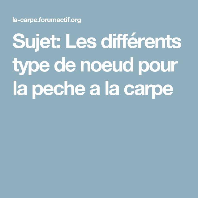 Sujet: Les différents type de noeud pour la peche a la carpe