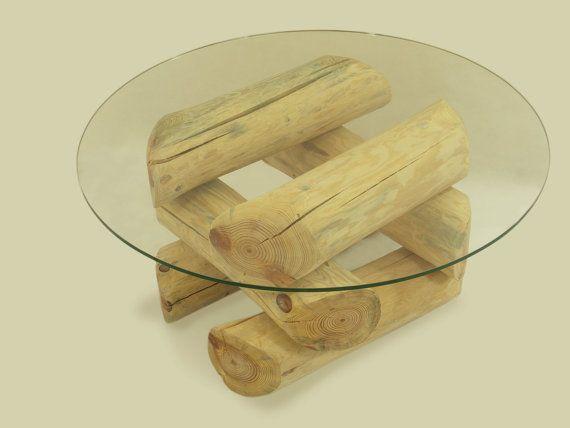 ECO FURNITURE logs coffee table rustic coffee by FreeTreeStudio