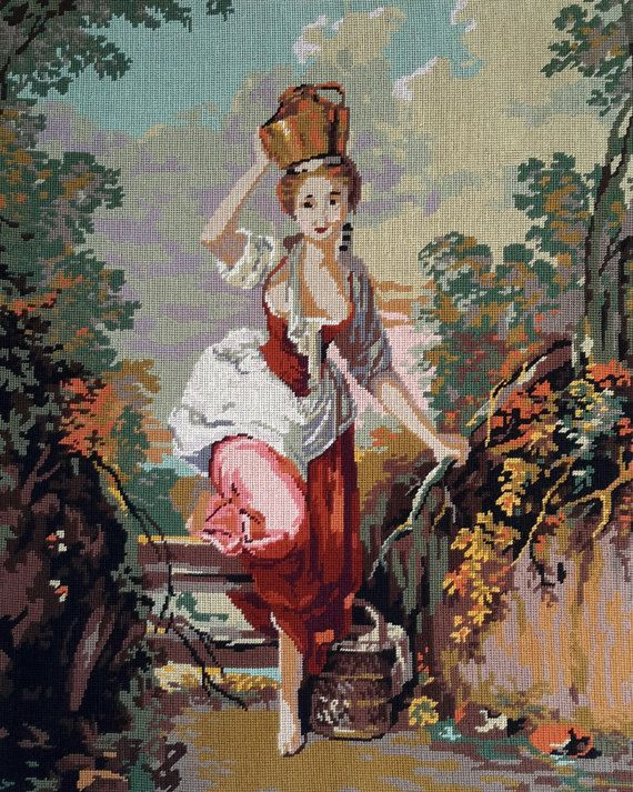 La Laitiere after J R Huet - vintage french hand stitched tapestry ideal for wall hanging/cushion/pillow/bag/stool/chair cover