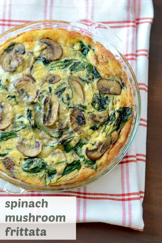 Spinach mushroom frittata recipe, a quick and easy breakfast recipe with eggs, mushrooms, spinach, and cheese. An easy step by step breakfast recipe.