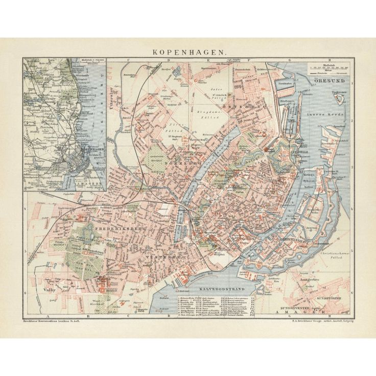 Copenhagen vintage map reproduction. Handmade paper print. Old map poster of Copenhagen.