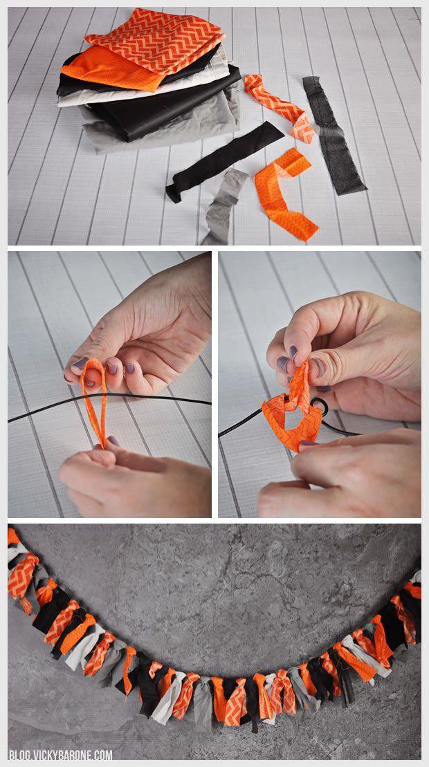 DIY Halloween Fabric Scrap Garland | Vicky Barone