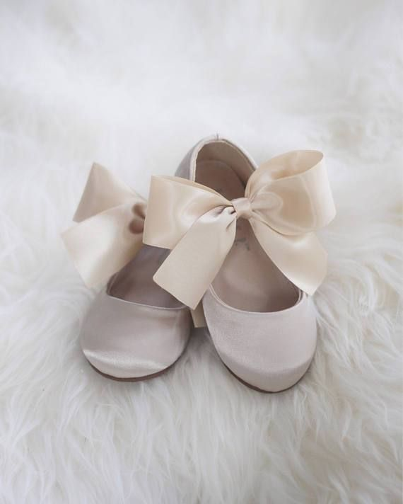 d8b33303a94c1 CHAMPAGNE Satin Mary Jane Flats with Satin Bow in 2019 | Wedding ...