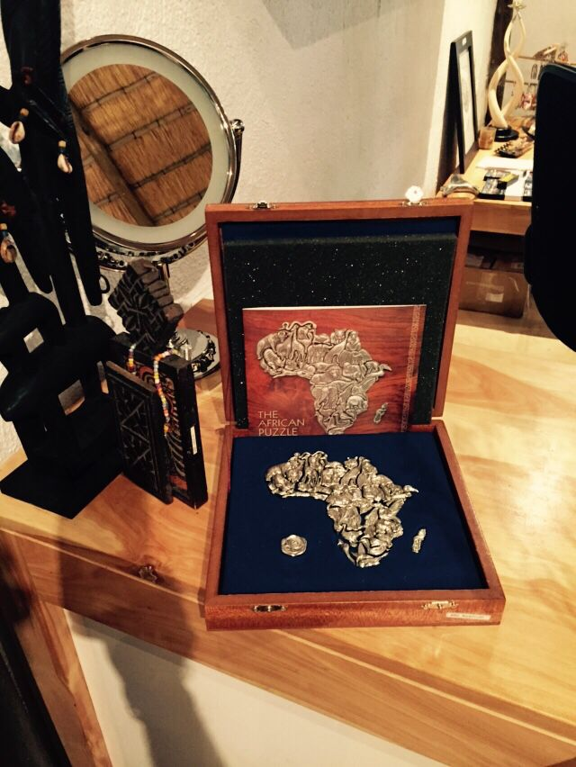 Our ever popular Peter map of Africa 36 piece puzzle.  Individual puzzle pieces can be worn with sterling silver necklace, which is supplied with the set.