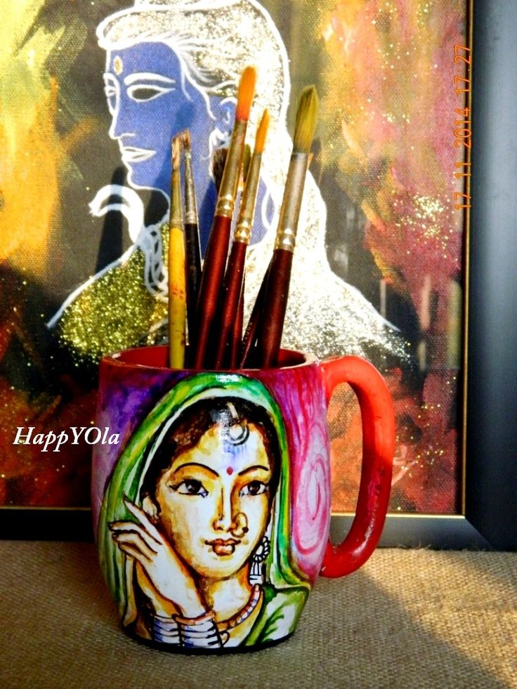 Hand painted terracotta mugs. An art piece that stands apart from any home decor .
