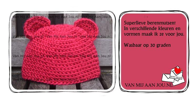 newborn baby peuter en kleuter maat - meisje - berenmuts- muts op bestelling gehaakt - met de hand op maat en kleur gehaakt - www.vanmijaanjou.nl -