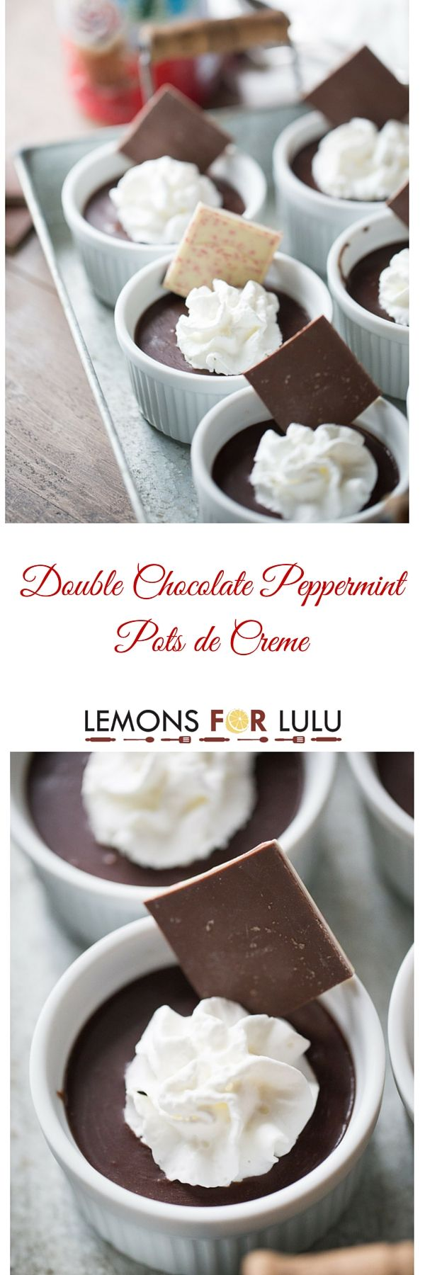 White chocolate is the base for these peppermint flavored pots de creme recipe! Each custard is topped with a decadent peppermint chocolate ganache sauce for a festive and fun holiday dessert! lemonsforlulu.com  ShareYourDelight
