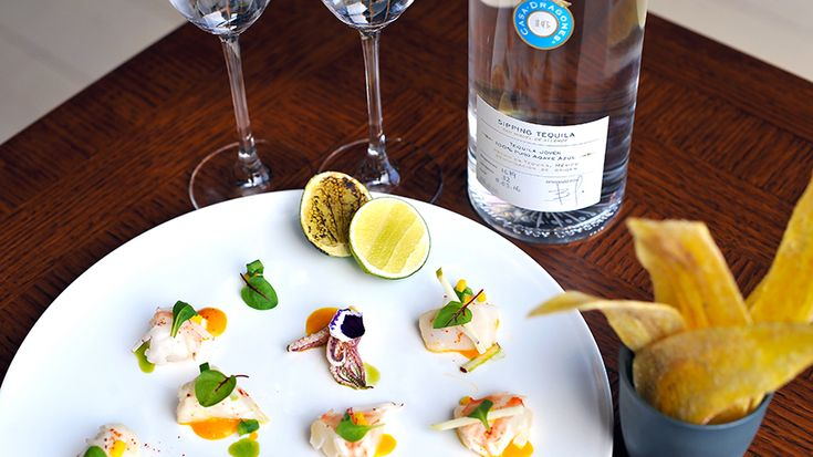 A special pairing dish of ceviche de mariscos created by Spring Place in New York for Valentine's Day with Tequila Casa Dragones Joven.