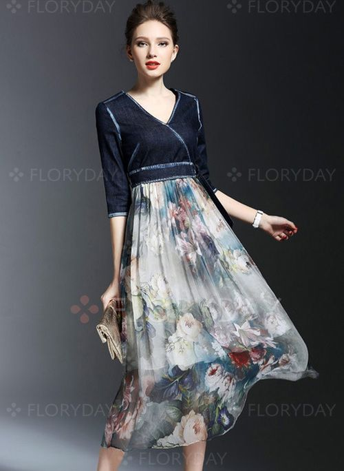 Dresses - $77.88 - Cotton Polyester Color Block Half Sleeve Mid-Calf Casual Dresses (1955100089)