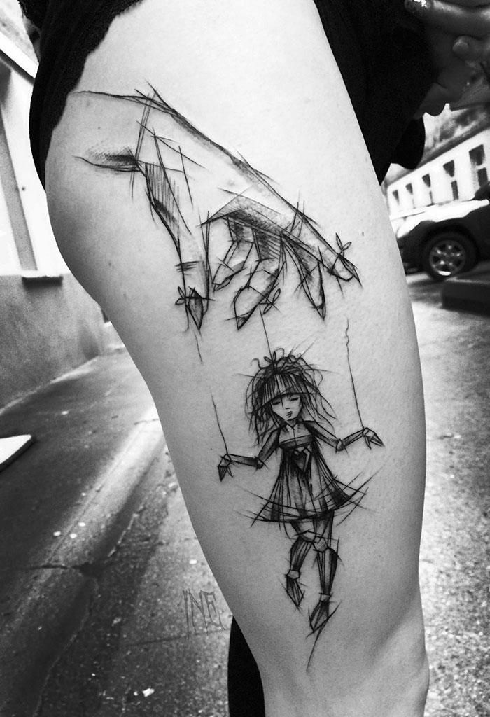 Inez Janiak's sketched marionette shows motion beautifully #thigh #tattoo