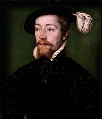James V (10 April 1512 – 14 December 1542) was King of Scots from 9 September 1513 until his death, which followed the Scottish defeat at the Battle of Solway Moss. His only surviving legitimate child, Mary, succeeded him when she was just six days old.