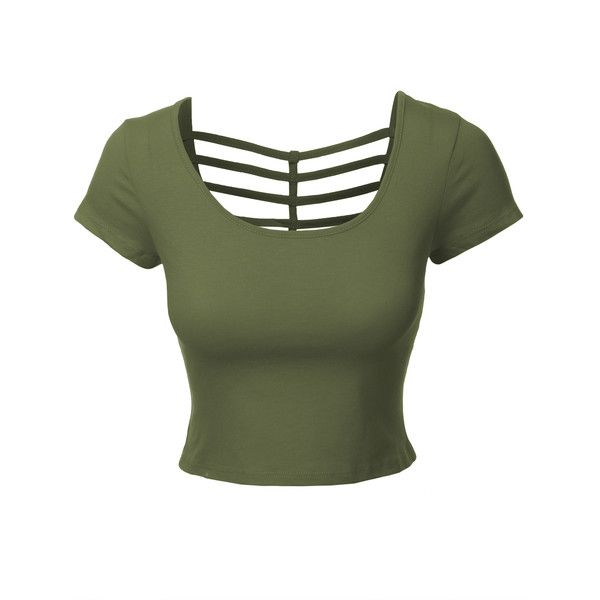 LE3NO Womens Fitted Cropped Tee ($8.44) ❤ liked on Polyvore featuring tops, t-shirts, oversized cardigan, cut out crop top, green tee, open back tee and green top
