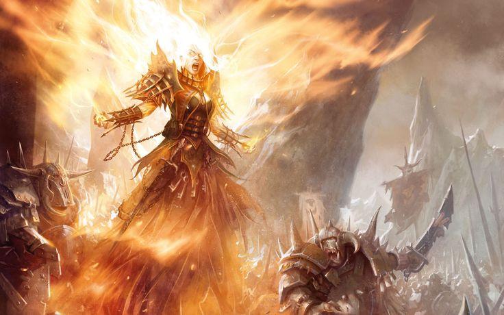 Ярость Огонь Девушка Воин Монстры Битва