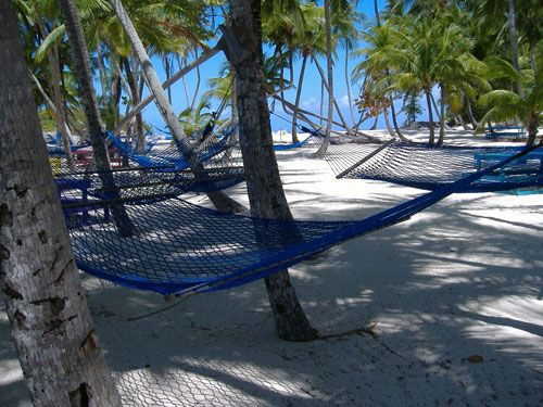 Relaxed on the Hammocks on the Blue Lagoon, Bahamas