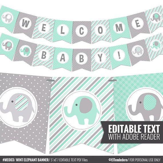 Self Editable Mint Elephant Baby Shower Banner Baby Banner Etsy In 2021 Baby Shower Banner Boy Printable Elephant Baby Showers Grey Baby Shower