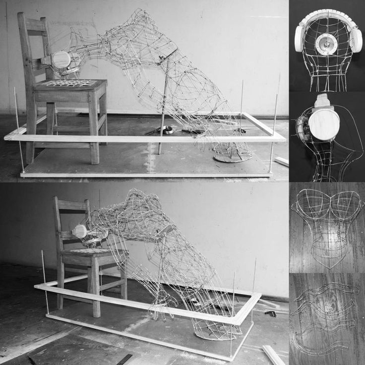 3 Weeks in and still some ways to go. a Handmade wire sculpture mounted and some of its other elements, including a wire corset and wire tentacles. The sculpture is also wearing a work in progress pair of wooden headphones. #workinprogress #wire #sculpture #handmade #contemporaryart #myart #themindisright