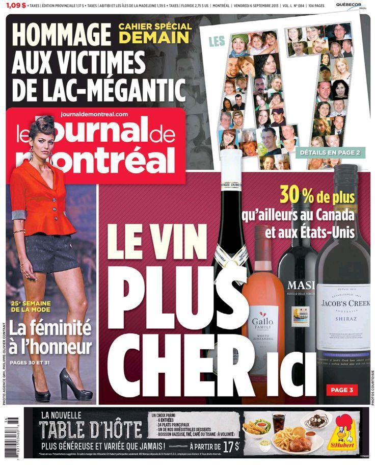 Journal de Montréal du 6 septembre - Alex Sterg en Annie 50 lors du défilé #PE14 #SS14, Specs Models