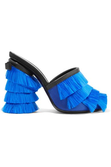Marco De Vincenzo - Leather-trimmed Fringed-satin Mules - Blue - IT38.5