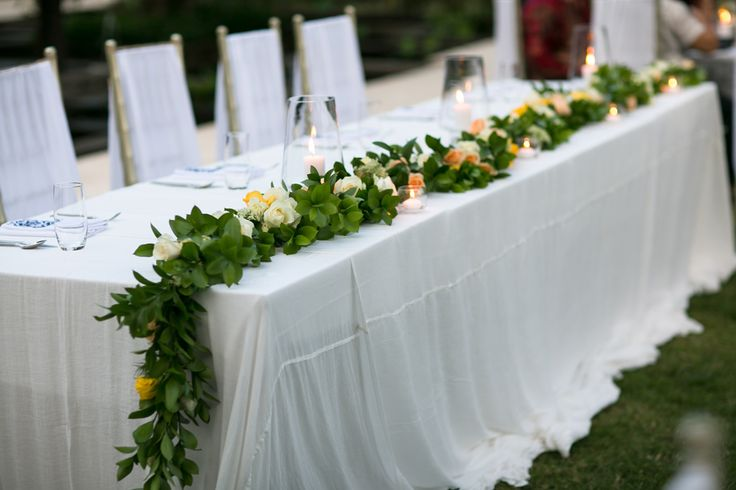 Garland stretched across Bridal Table