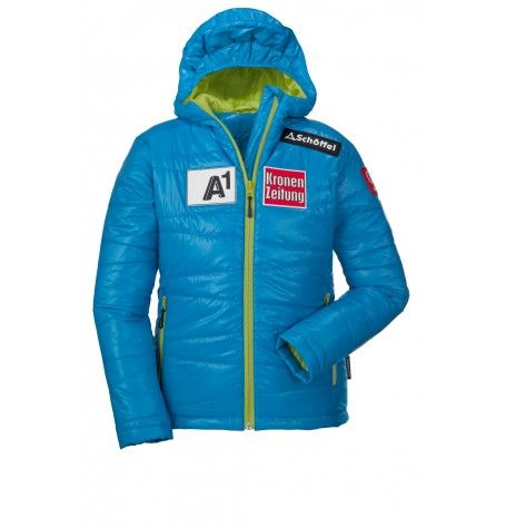 For our little champions - the junior Austrian Ski Jacket Noa with an integrated MP3 pocket. Whether you meet with your friends in the city or meet them to the mountains for skiing, with this jacket you set a new trend. By Warm Ventloft feeding you're well protected against the cold. With original sponsor logos which also carries the Austrian National Team. Be protected from the wind and weather and enjoy your day to the fullest.