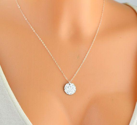 Hammered Disc Necklace / Silver, Gold, Rose Gold Disc Necklace / Hammered Circle necklace / Minimalist Necklace  * Gold Filled Bar 38x6mm * Gold Filled Disc 13mm * Gold Fil... #monogram