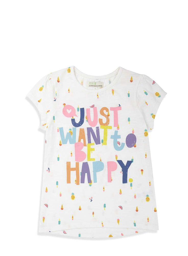 Girls White Be Happy T-Shirt - View All Girls - Kids - BHS
