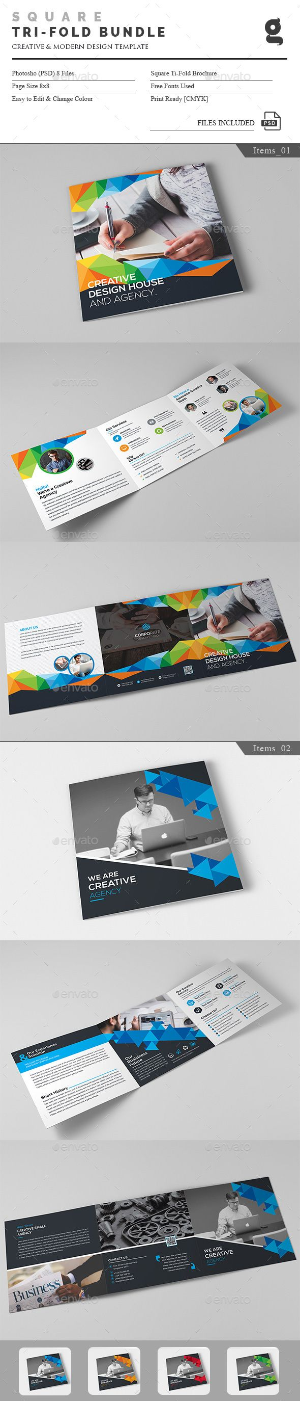 Square Tri-Fold PSD Bundle  Template • Only available here ➝ http://graphicriver.net/item/square-trifold-bundle/16568315?ref=pxcr