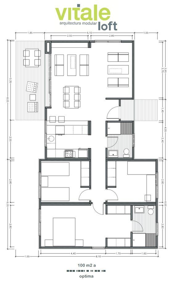 Genial Modelo OPTIMA 100 M2 | Houses In 2019 | House Plans, Small House Plans,  Modern House Plans