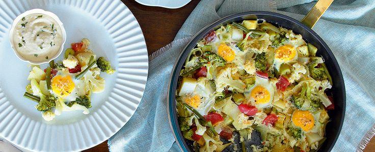 Caçarola de Hortaliças e Ovos com Crocante de Ervas