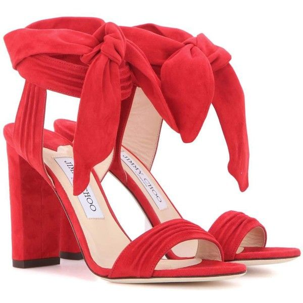 Jimmy Choo Kora 100 Suede Sandals ($720) ❤ liked on Polyvore featuring shoes, sandals, heels, red, jimmy choo, suede sandals, suede leather shoes, red suede sandals and heeled sandals