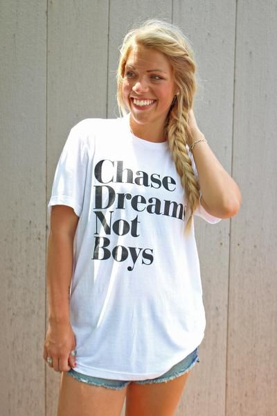Chase dreams not boys unisex t-shirt. Lush Fashion Lounge women's boutique in Oklahoma is known to carry a trendy, cute selection of graphic t-shirts in collaboration with a local vendor on a line we