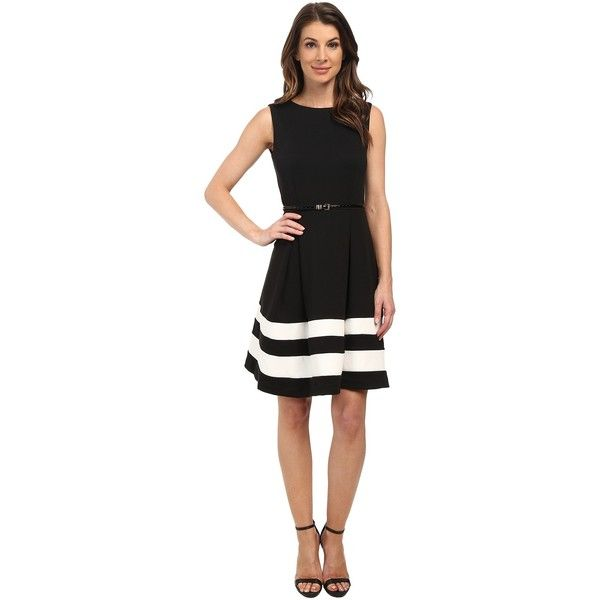 Calvin Klein Ponte Fit Flare Dress Women's Dress ($89) ❤ liked on Polyvore featuring dresses, black a line dress, black fit and flare dress, black pleated dress, black stretch dress y ponte dress