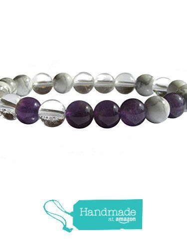 "ZENstore Crown Chakra Healing Bracelet Natural Gemstones size 0.3"" 8mm Amethyst Magnesite Clear Quartz Spirituality Faith Awareness from ZENstore https://www.amazon.com/dp/B071WMQM54/ref=hnd_sw_r_pi_dp_NdrozbKJ444HN #handmadeatamazon  #Zenstore #chakra #gemstone #jewellery #fashion"