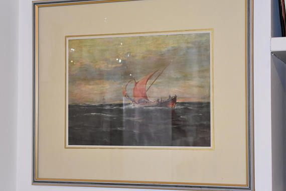 Vintage watercolor painting from the fifties landscape