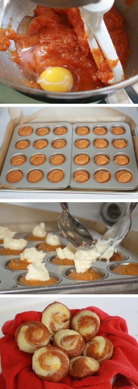Instead of Pumpkin Pie at Thanksgiving, try some pumpkin muffins! - Easy Pumpkin Cheesecake Muffins #Recipe