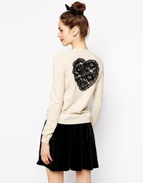 Love Moschino Long Sleeve Cardigan with Lace Heart Back