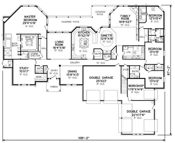 Layout with kitchen in middle. Look at that master closet!!