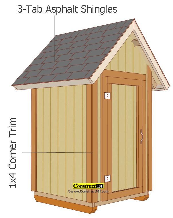 small shed plans 4'x4' gable shed shingles and corner trim