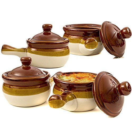 These elegant, durable and attractive soup bowls with handles and lids are a perfect for your home cooked soups and stews or for your restaurant. Traditionally used for French Onion Soup these ceramic soup bowls are often used for chowder, potato soup, taco or tortilla soup and more. Ideal as... - http://kitchen-dining.bestselleroutlet.net/product-review-for-gibson-french-onion-soup-crock-bowls-with-handles-set-of-4/