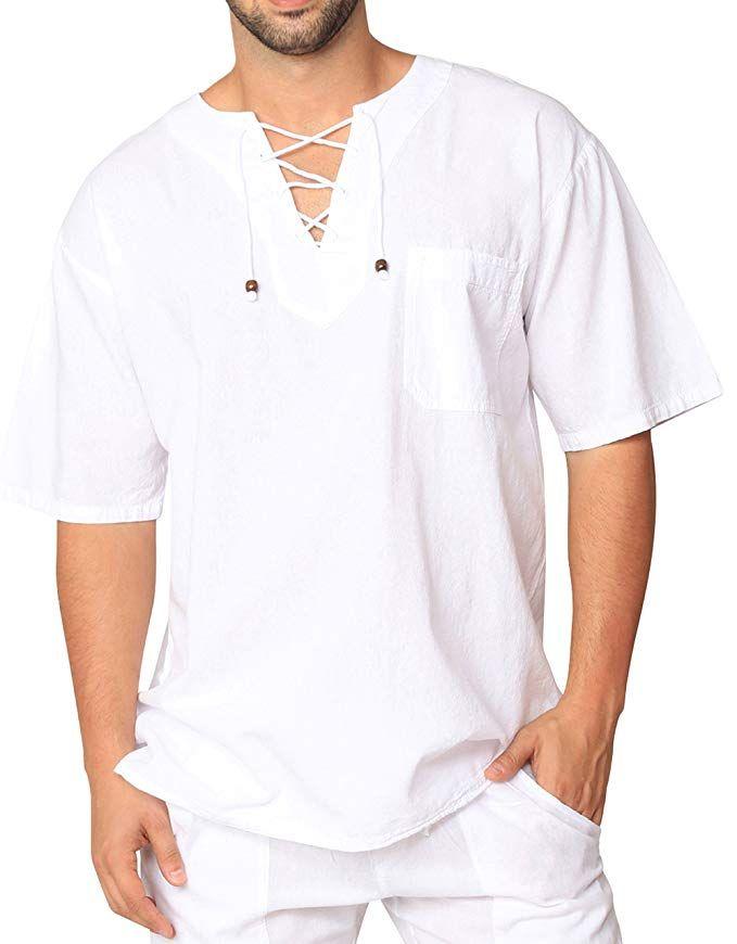 80bc6de1 Men's White Shirt 100% Cotton Casual Hippie Shirt V-Neck Drawstring Short  Sleeve Beach Yoga Top (Sleeveless White, Large) | Amazon.com