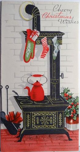 1950s Mid Century Modern Old Stove Vintage Christmas Card