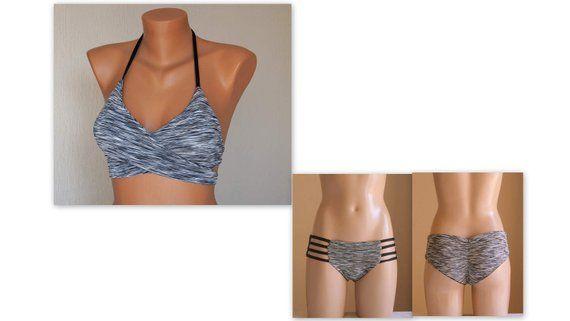 Graues Bikiniset / Wendbares graues und schwarzes Wickeloberteil mit Riemchen / Badeanzüge / Badeanzüge in Übergröße / Bademode für Damen / Bikiniset