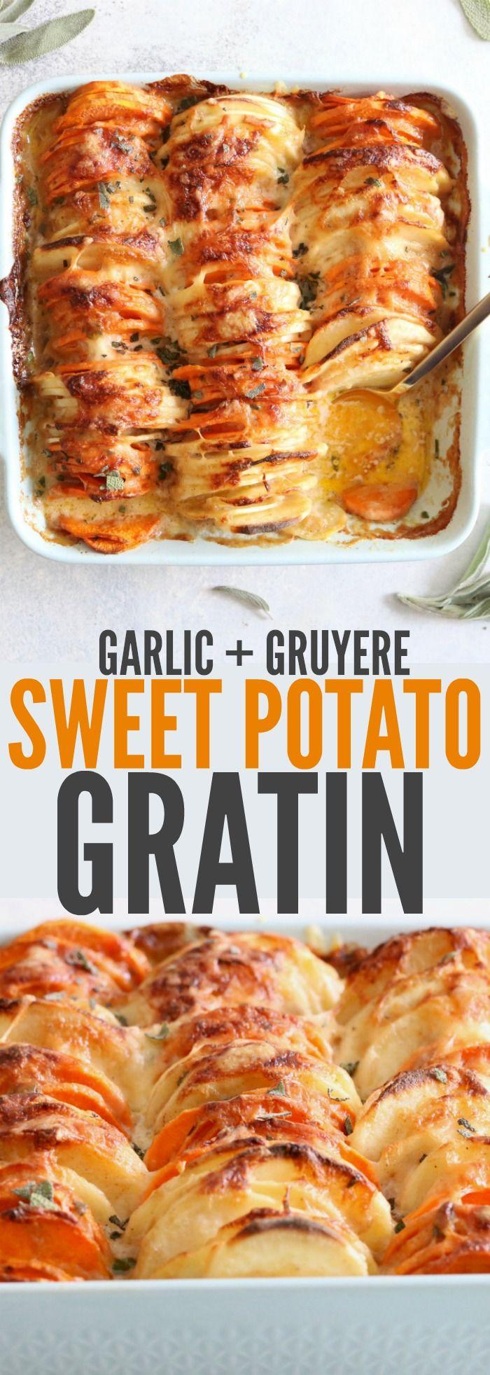 Garlic & Gruyere Sweet Potato Gratin / makes 6 servings / 1 serving = 373 cal, 25.9g F, 10.4g P / 26g C / sweet potatoes, butter, garlic, sage, heavy cream, arrowroot powder, gruyere cheese, smoked gouda cheese